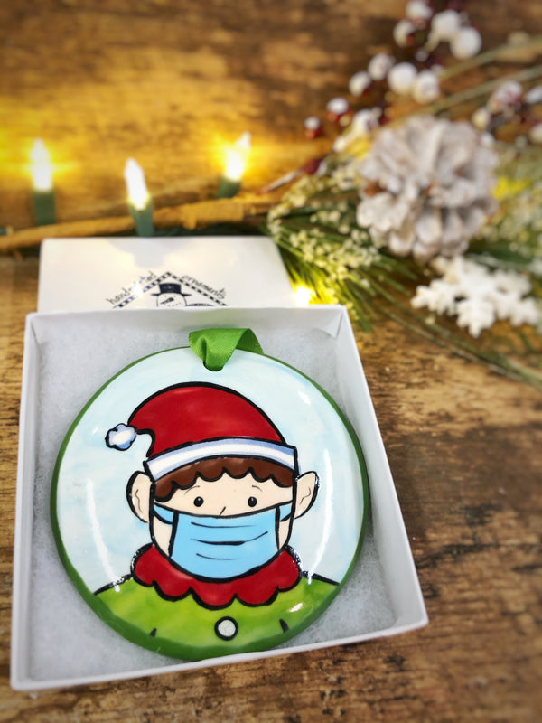 Elf w/ Mask COVID 2020 Handpainted Personalized Ornament - nolawatkins.com