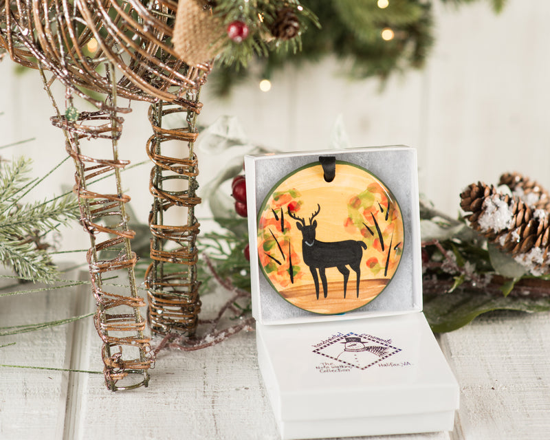 Fall Deer Handpainted Ornament - nolawatkins.com