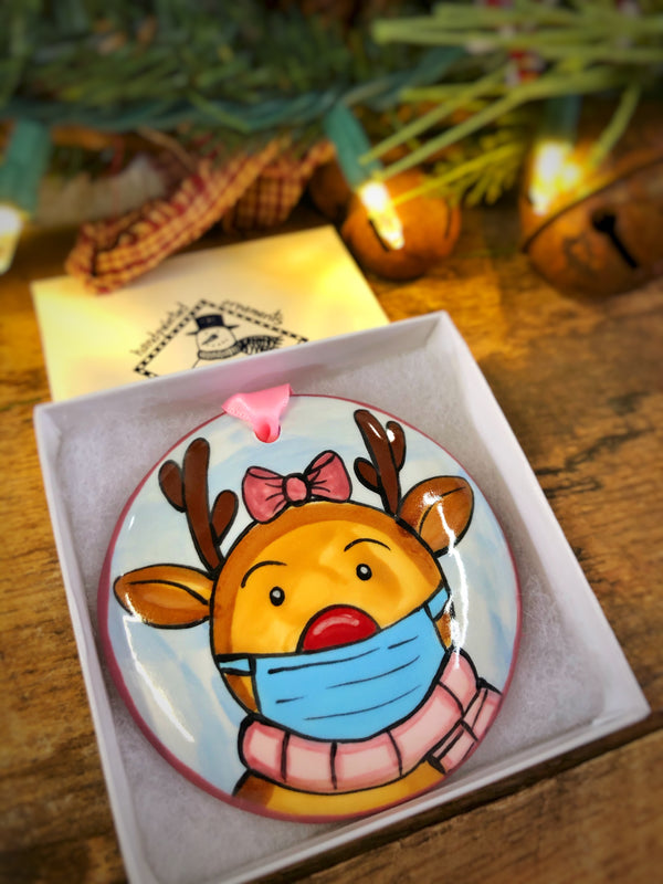 Female Reindeer w/ Mask COVID 2020 Handpainted Personalized Ornament - nolawatkins.com