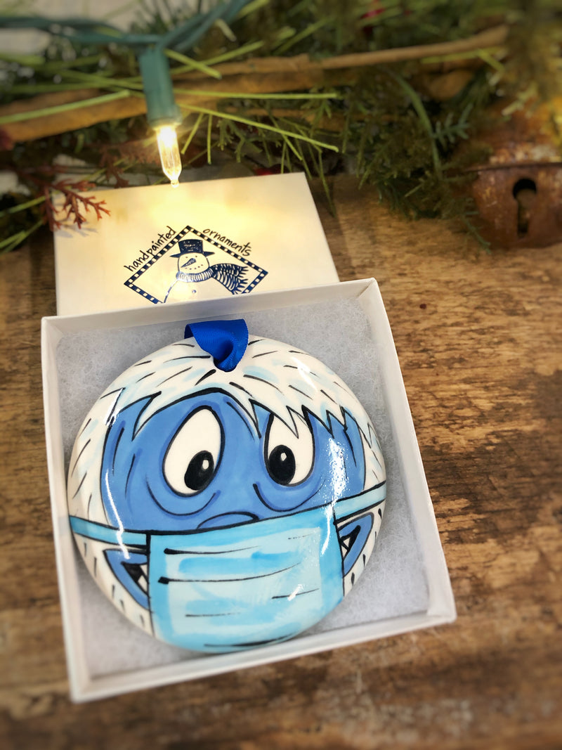 Abominable Snowman COVID 2020 Handpainted Personalized Ornament - The Nola Watkins Collection
