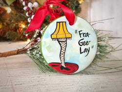 "Fra Gee Lay ""A Christmas Story"" Leg Lamp Handpainted Christmas Ornament - nolawatkins.com"