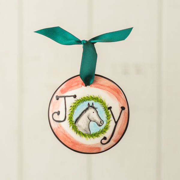 Joy with Horse Handpainted Personalized Ornament - nolawatkins.com