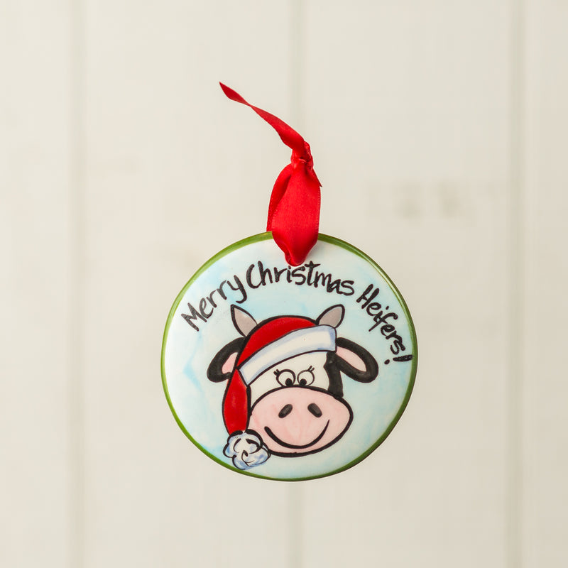 Merry Christmas Heifers Handpainted Personalized Ornament - nolawatkins.com