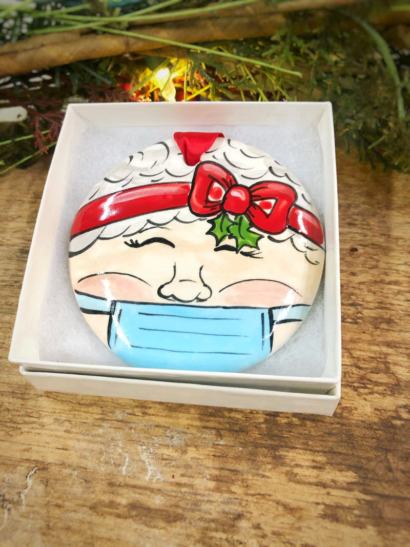 Mrs Claus w/ Mask COVID 2020 Handpainted Personalized Ornament - nolawatkins.com