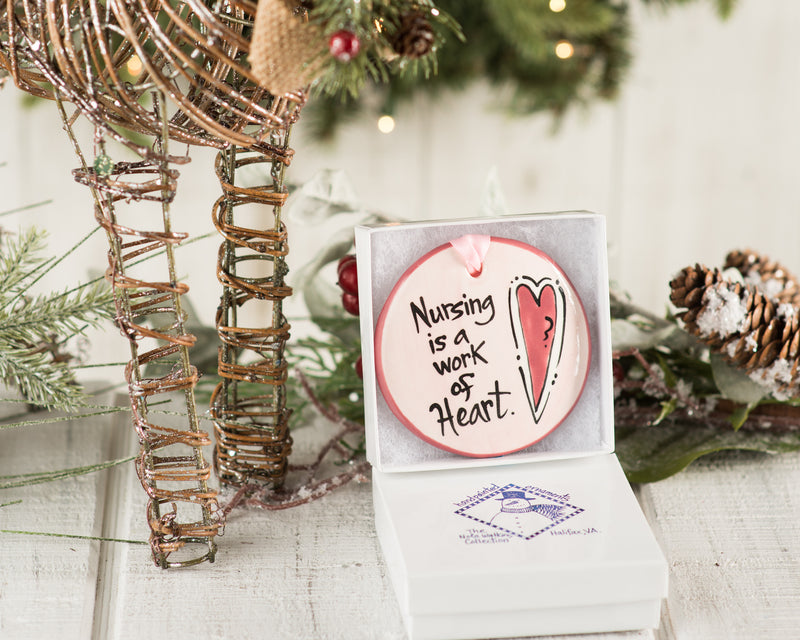 "Nursing ""Work of Heart Ornament"" Handpainted Ornament - nolawatkins.com"