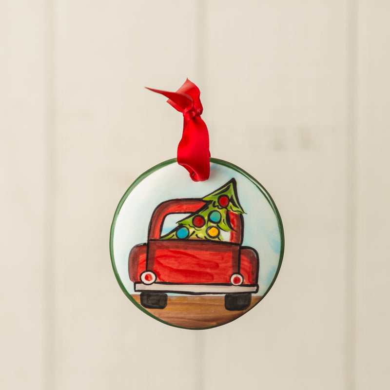 Old Red Truck Back Handpainted Ornament - nolawatkins.com