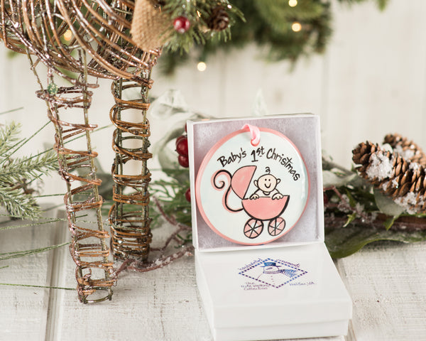 Pink Buggy Baby's 1st Christmas Handpainted Ornament - The Nola Watkins Collection