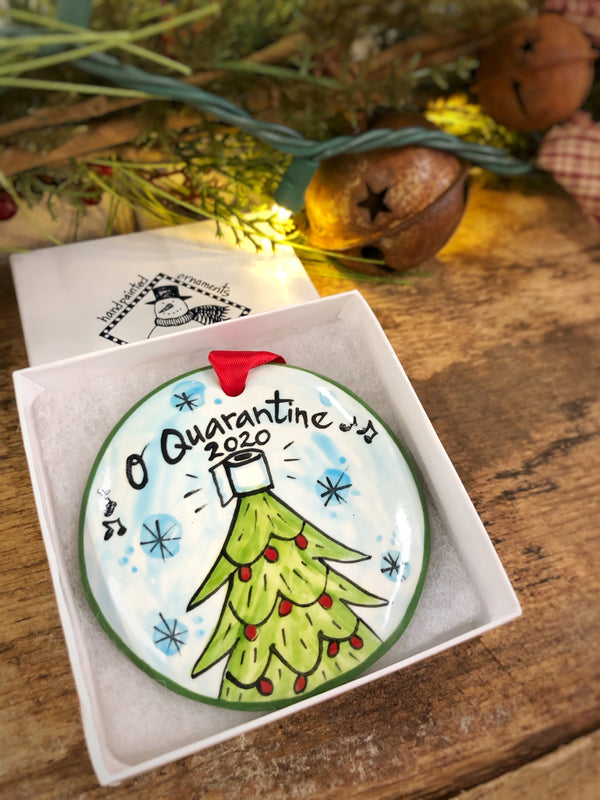 O' Quarantine Christmas Tree COVID 2020 Handpainted Personalized Ornament - nolawatkins.com