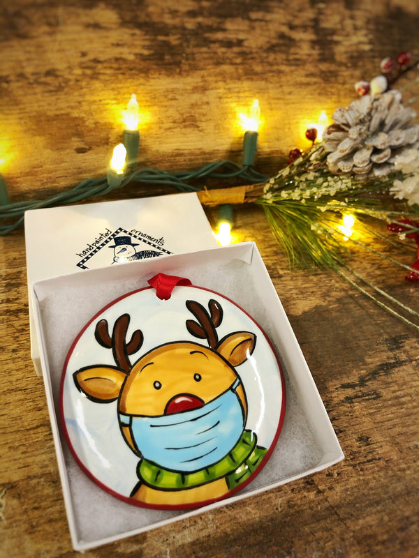 Reindeer w/ Mask COVID 2020 Handpainted Personalized Ornament - The Nola Watkins Collection