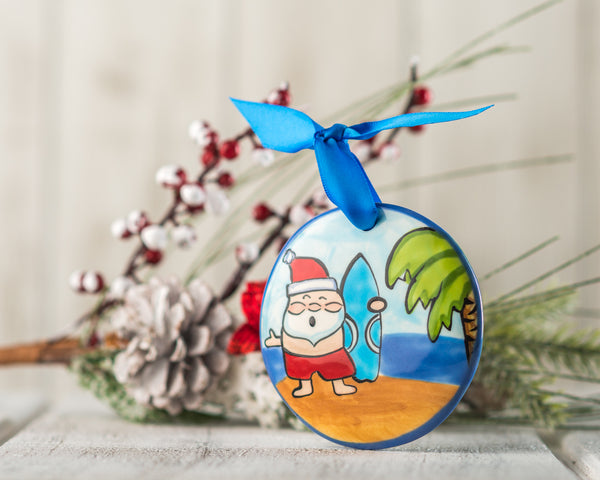 Santa Surfing Personalized Handpainted Christmas Ornament - nolawatkins.com