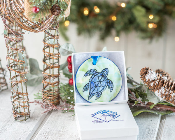 Sea Turtle Purple Handpainted Ornament - nolawatkins.com