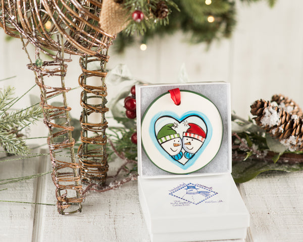 Snow Couple in Heart Handpainted Ornament - nolawatkins.com
