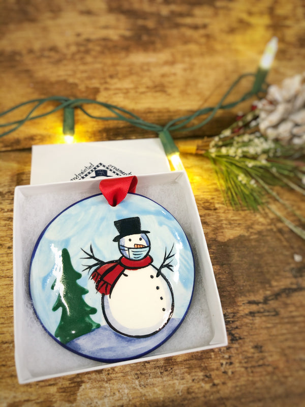Snowman Blue w/ Mask COVID 2020 Handpainted Personalized Ornament - nolawatkins.com