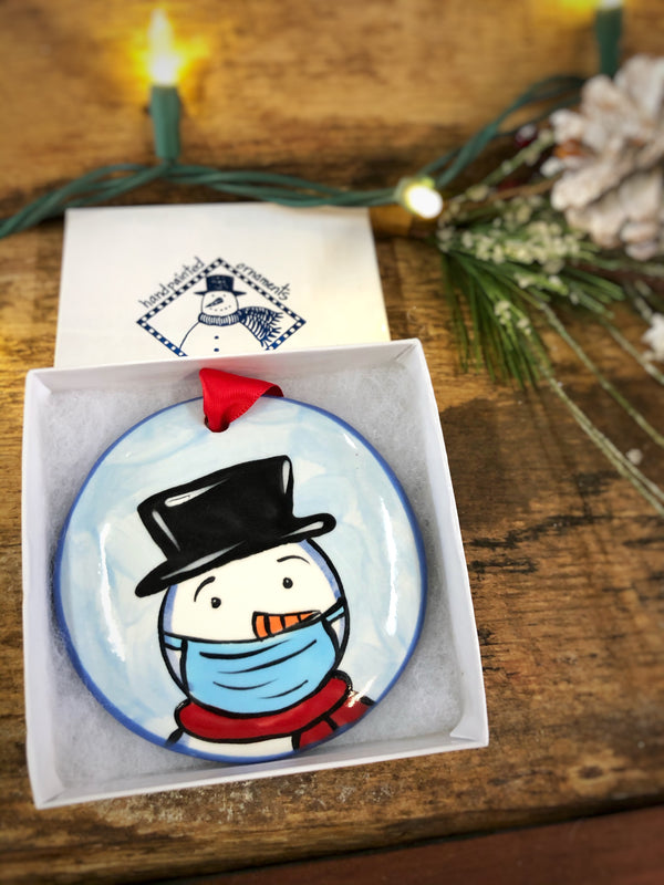 Snowman Head w/ Mask COVID 2020 Handpainted Personalized Ornament - nolawatkins.com