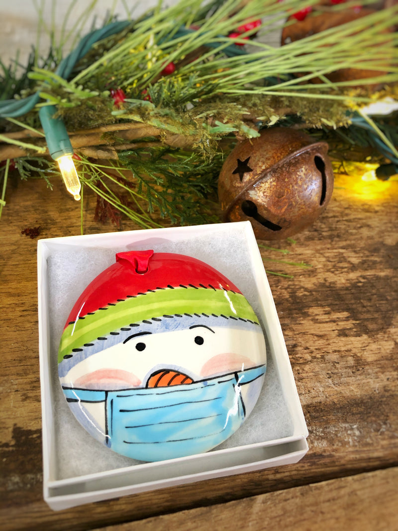 Snowman Head/Red & Green COVID 2020 Handpainted Personalized Ornament - nolawatkins.com