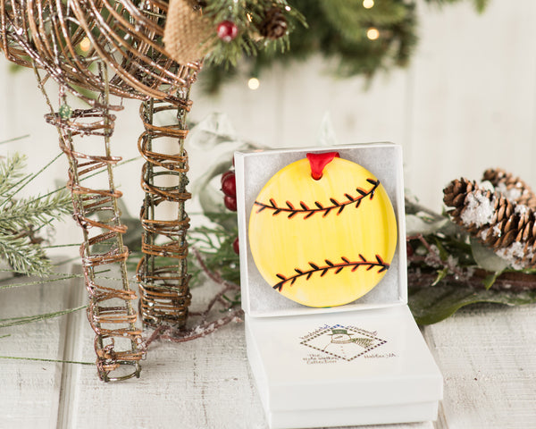 Softball Handpainted Ornament - nolawatkins.com