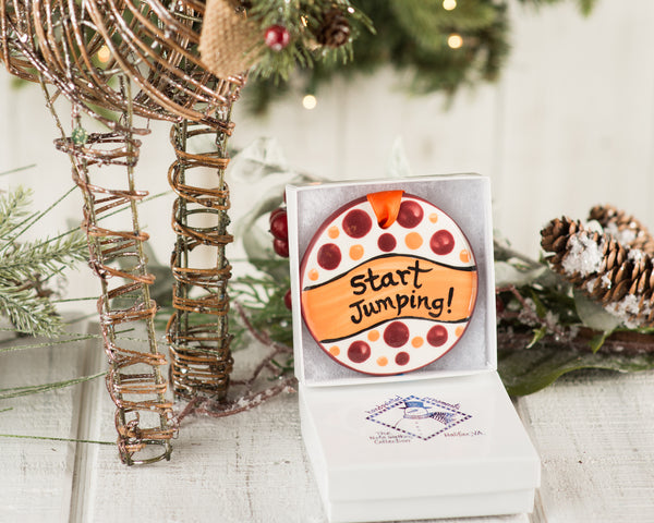 Start Jumping Handpainted Ornament - nolawatkins.com
