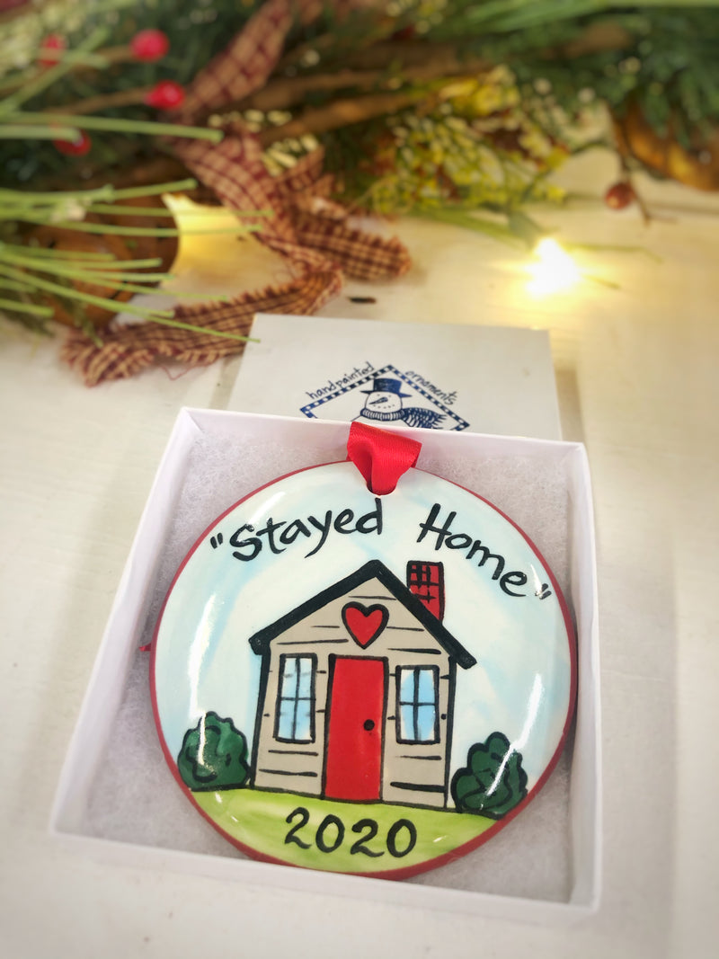 Stayed Home 2020 Handpainted Christmas Ornament - nolawatkins.com