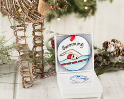 Swimming Handpainted Ornament - nolawatkins.com
