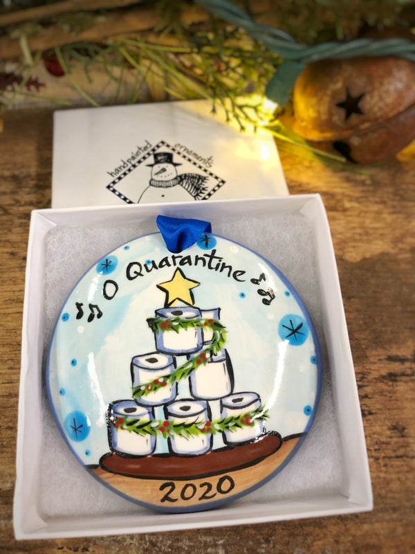 O' Quarantine Toilet Paper Christmas Tree COVID 2020 Handpainted Personalized Ornament - nolawatkins.com