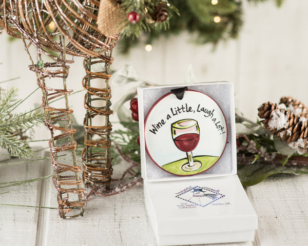 Wine a Little Laugh a Lot Handpainted Ornament - nolawatkins.com