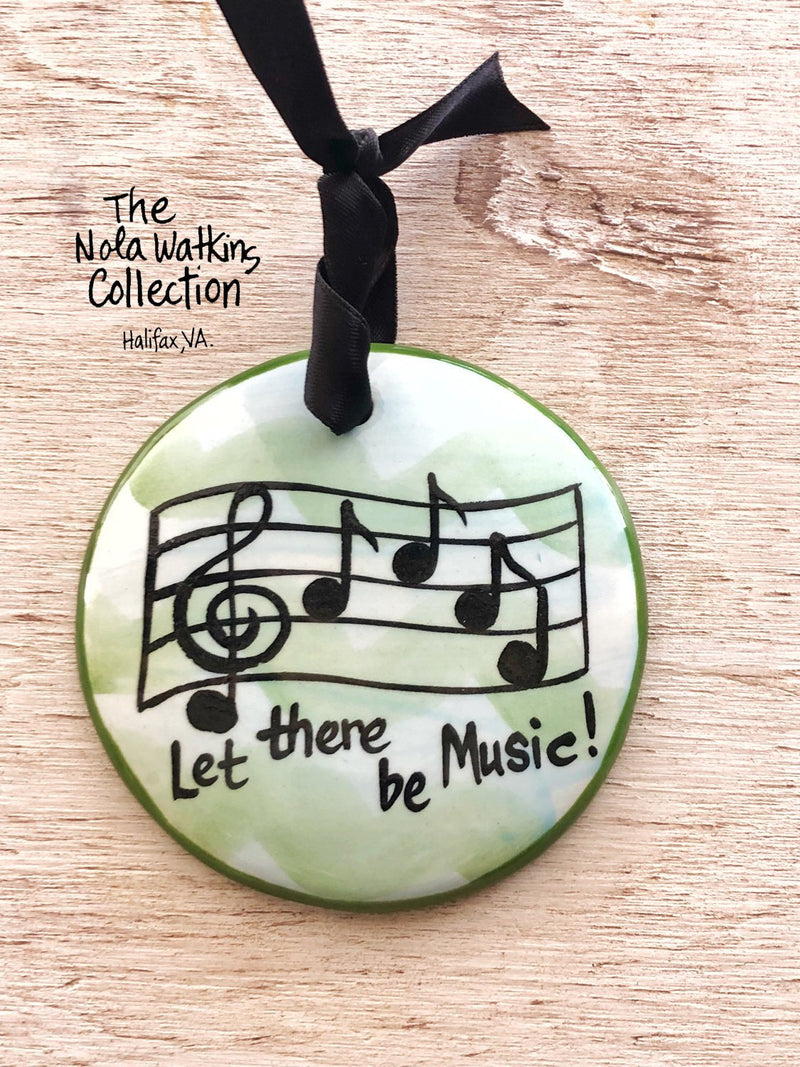 Music Notes Handpainted Ornament - nolawatkins.com