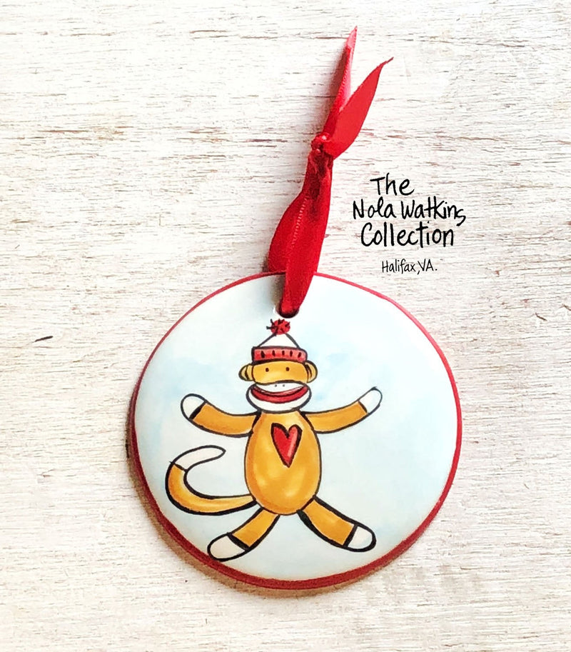 Sock Monkey Handpainted Ornament - nolawatkins.com
