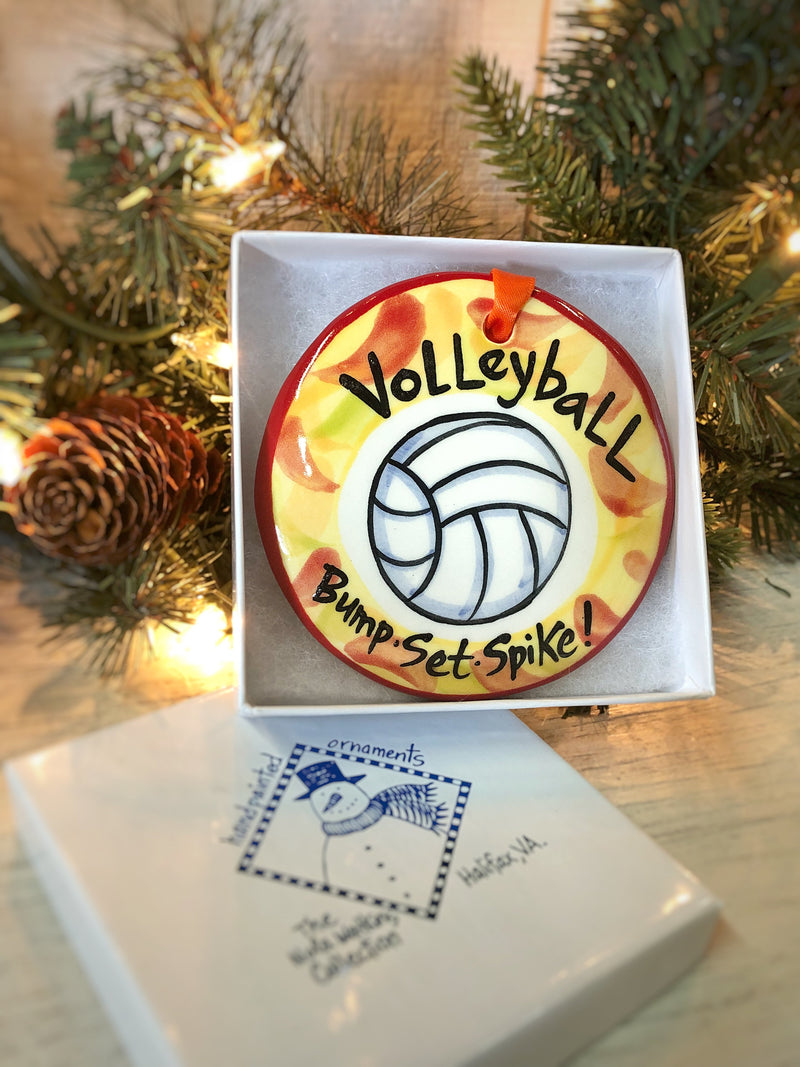 Volleyball Handpainted Ornament - nolawatkins.com