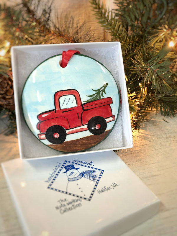 Old Red Truck Handpainted Ornament - nolawatkins.com