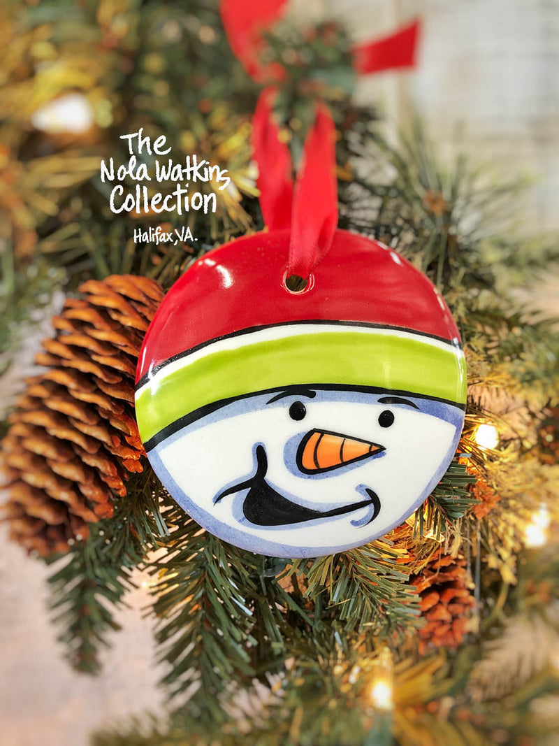 Snowmanface Christmas Ornament Handpainted Ornament - nolawatkins.com