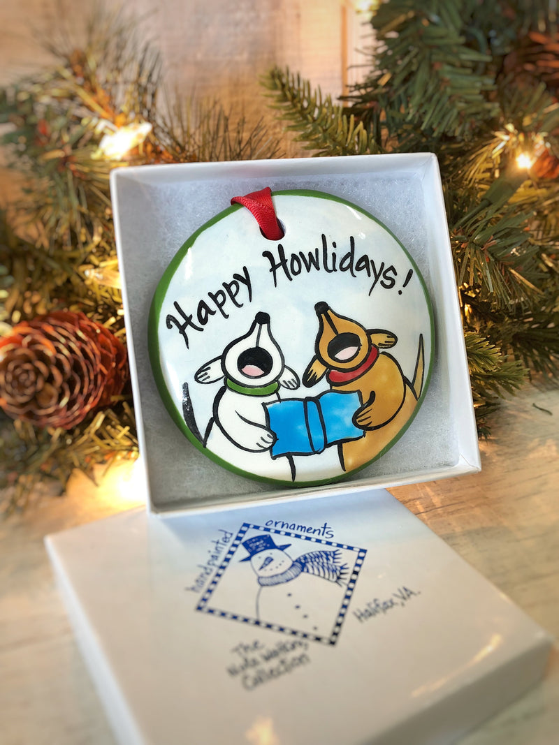 Happy Howlidays Handpainted Ornament - nolawatkins.com