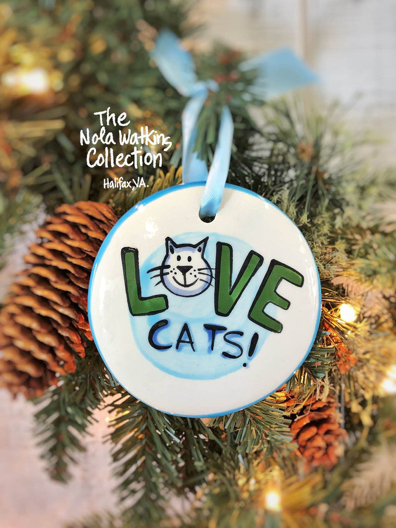 Love Cats Handpainted Ornament - nolawatkins.com
