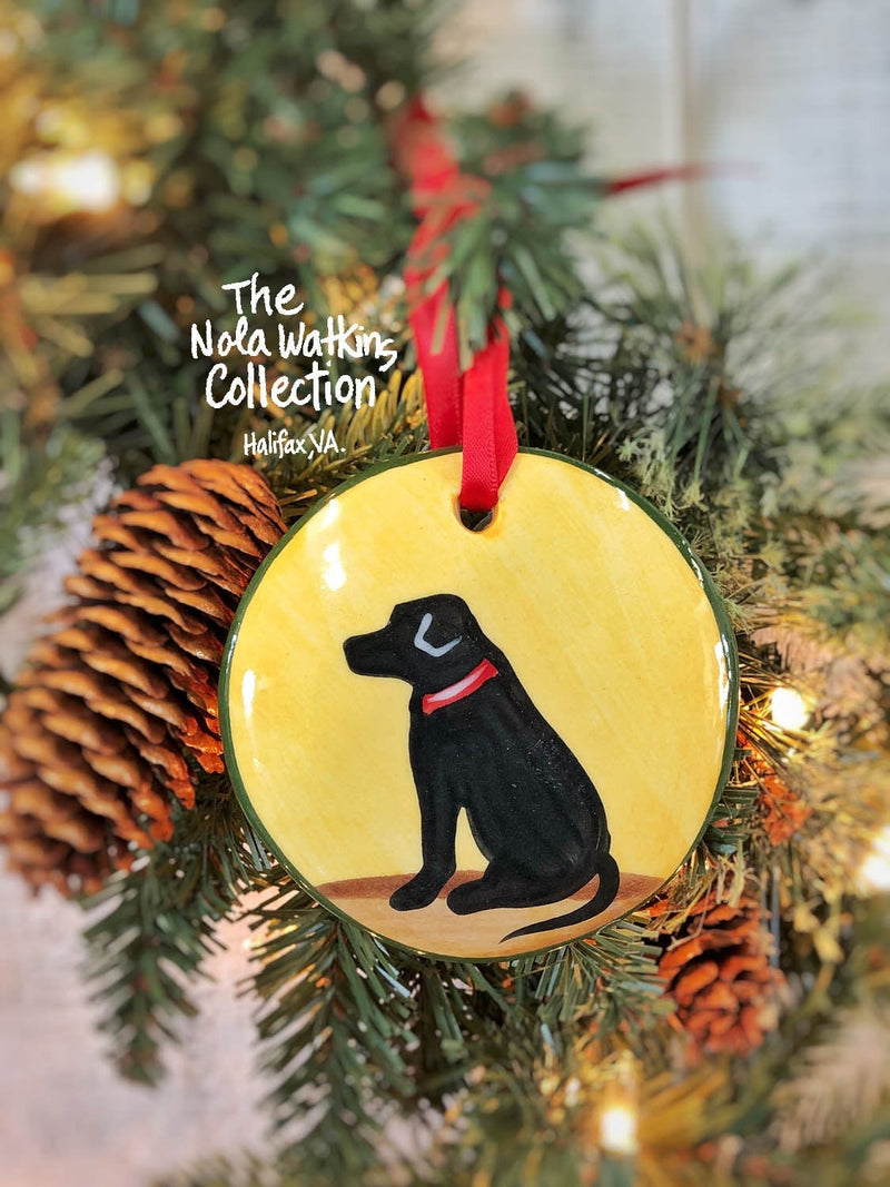 Black Lab Handpainted Ornament - nolawatkins.com