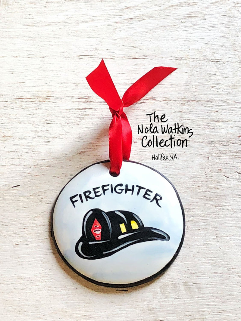 Firefighter Handpainted Ornament - nolawatkins.com