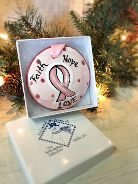Faith Hope Love Handpainted Ornament - nolawatkins.com