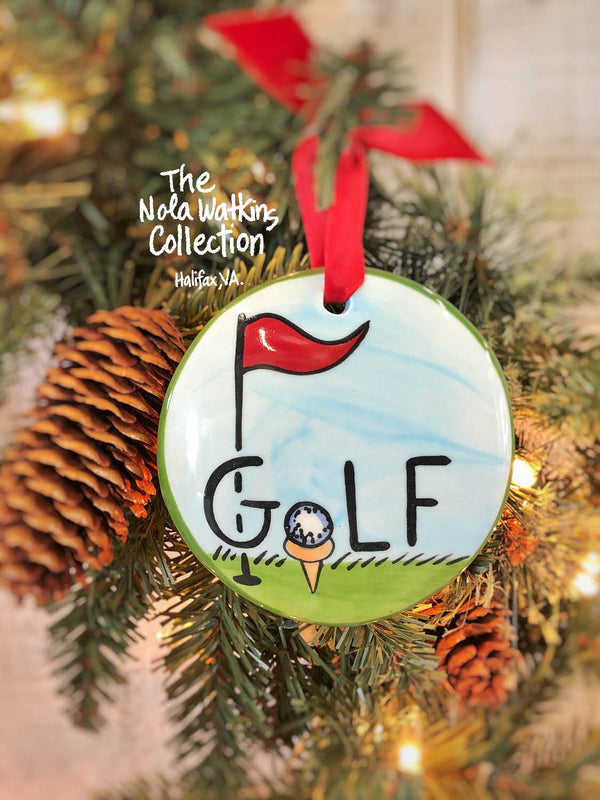 Golf Handpainted Ornament - nolawatkins.com