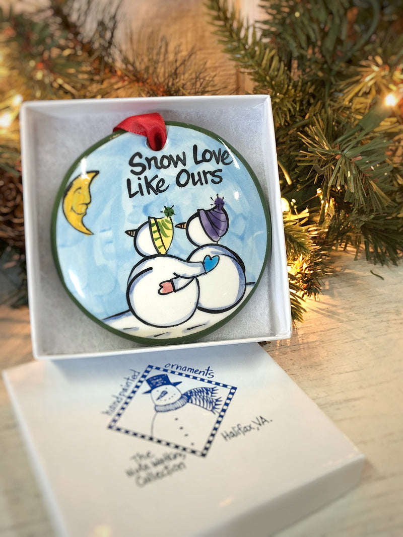 """Snow Love"" Like Ours Handpainted Ornament - nolawatkins.com"