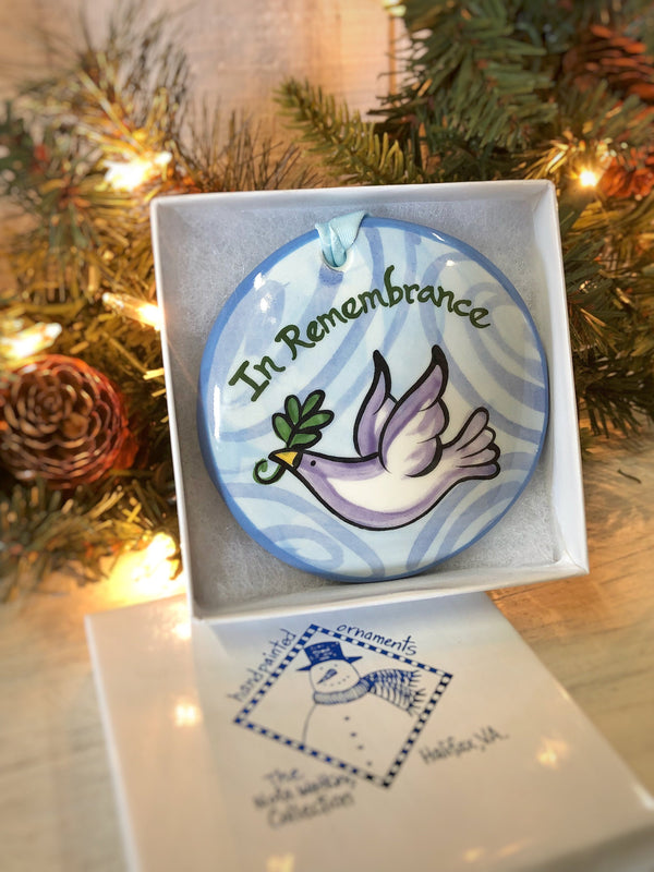 In Remembrance Peace Dove Handpainted Ornament - nolawatkins.com