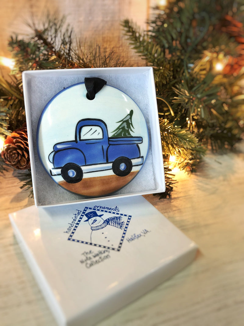 Old Blue Truck Handpainted Ornament - nolawatkins.com