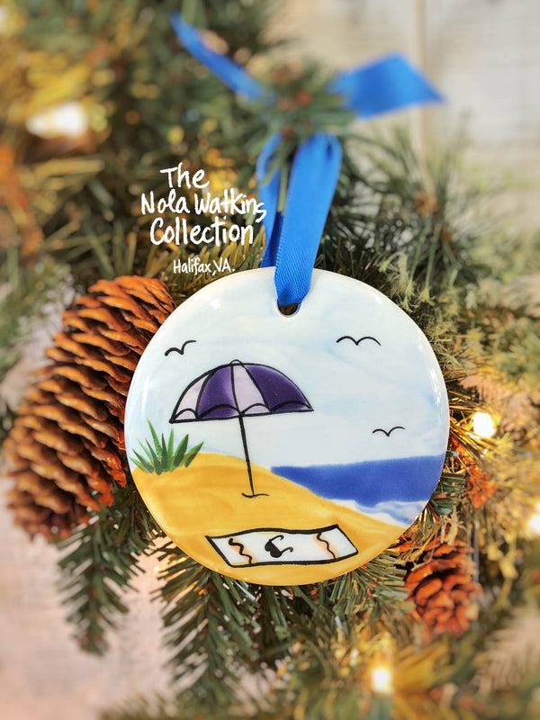 Beach Towel Handpainted Ornament - nolawatkins.com