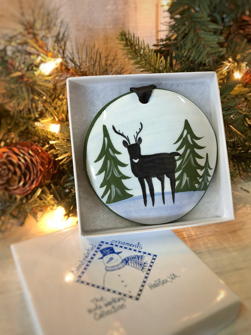 Winter Deer Handpainted Ornament - nolawatkins.com