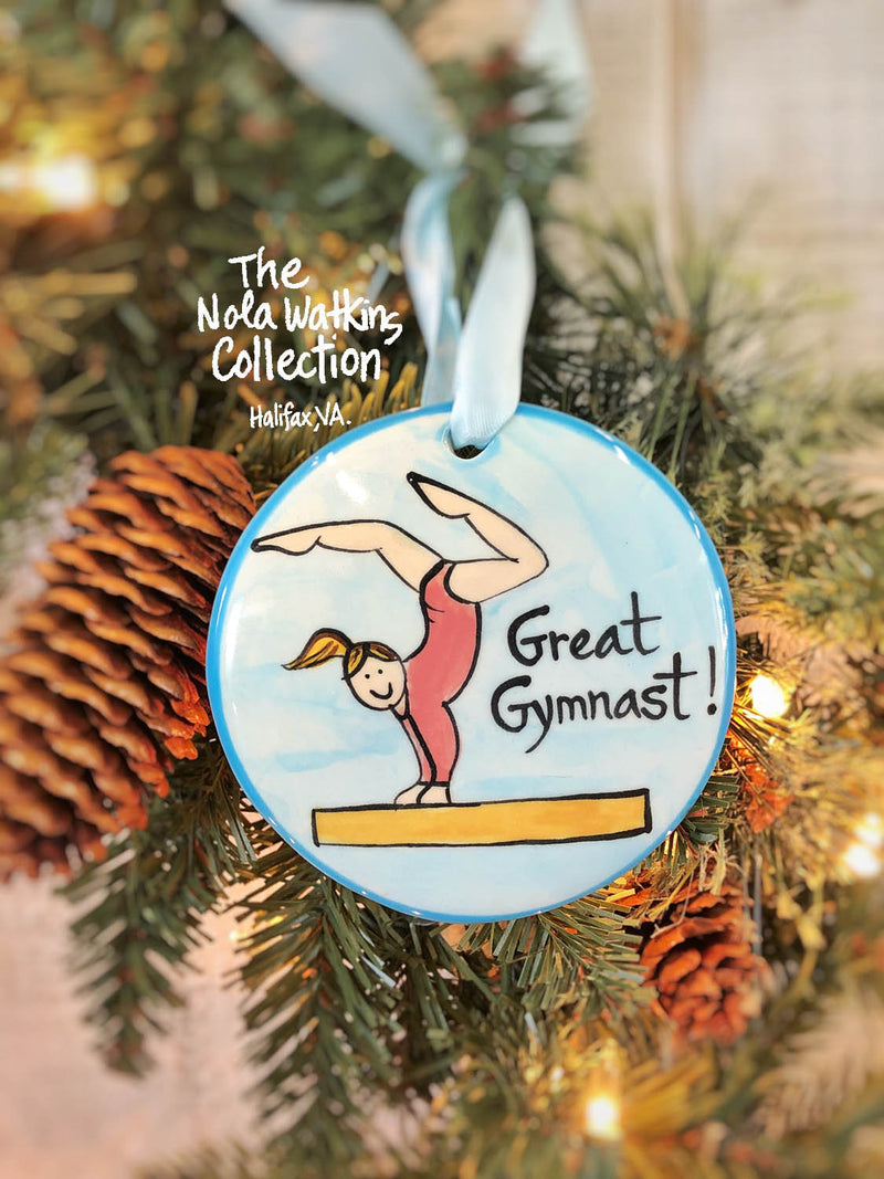 Gymnast Female Handpainted Ornament - nolawatkins.com