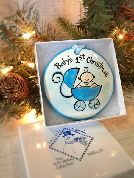 Blue Buggy Baby's 1st Christmas Handpainted Ornament - nolawatkins.com