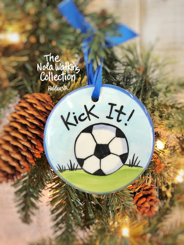 "Soccer ""Kick It"" Handpainted Ornament - nolawatkins.com"