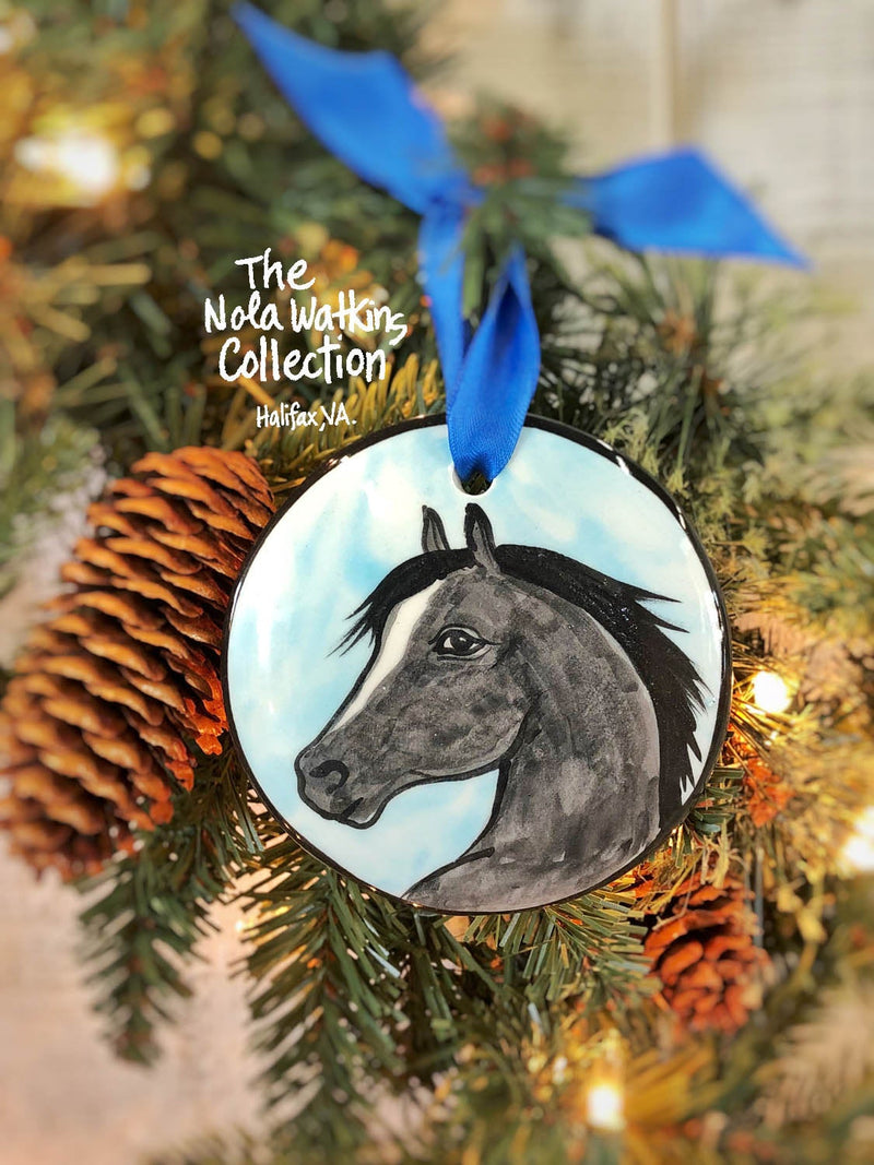Black Horse Handpainted Ornament - nolawatkins.com