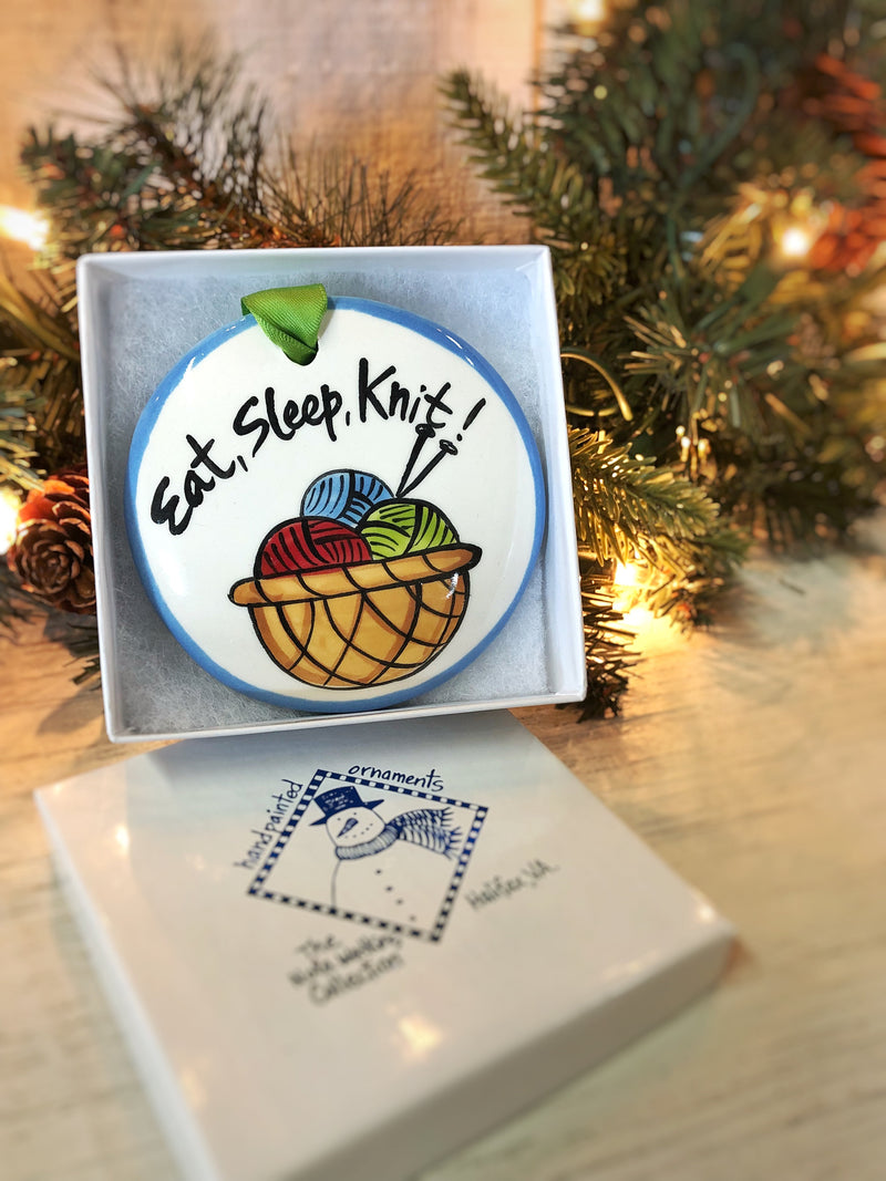 Knitting Handpainted Ornament - nolawatkins.com