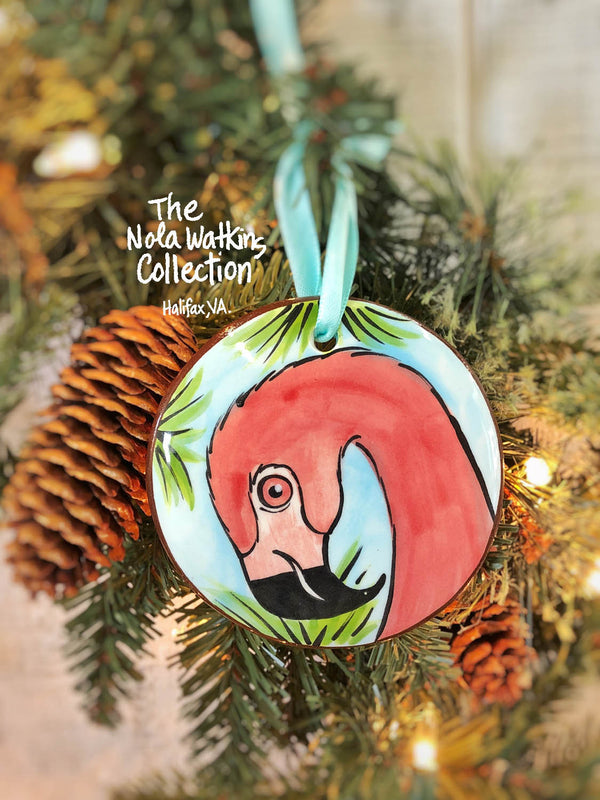 Flamingo Handpainted Ornament - nolawatkins.com