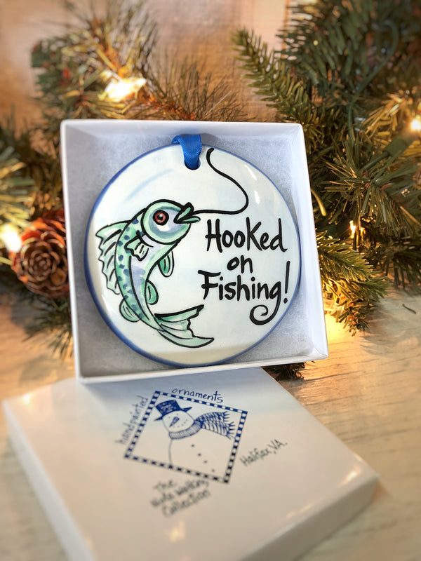 Hooked on Fishing Handpainted Ornament - nolawatkins.com