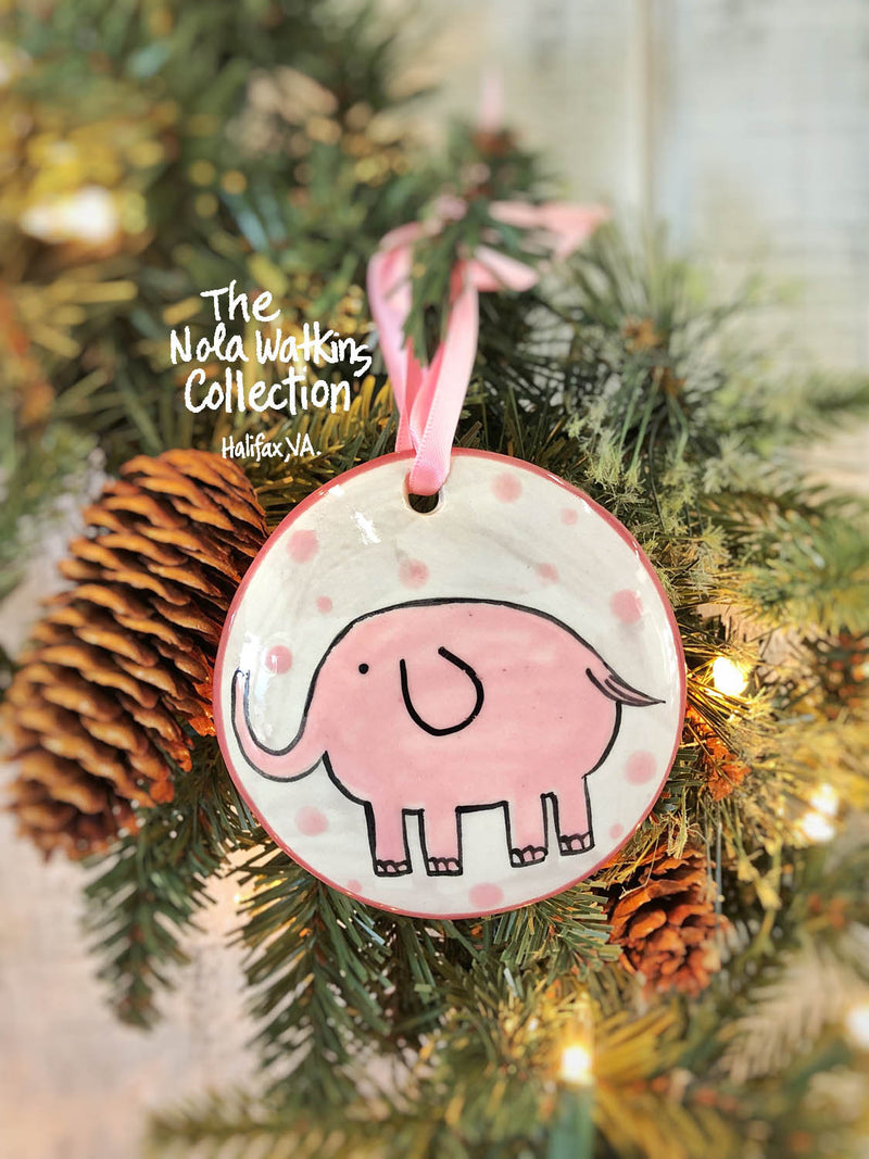 Pink Elephant Baby's 1st Christmas Handpainted Ornament - nolawatkins.com