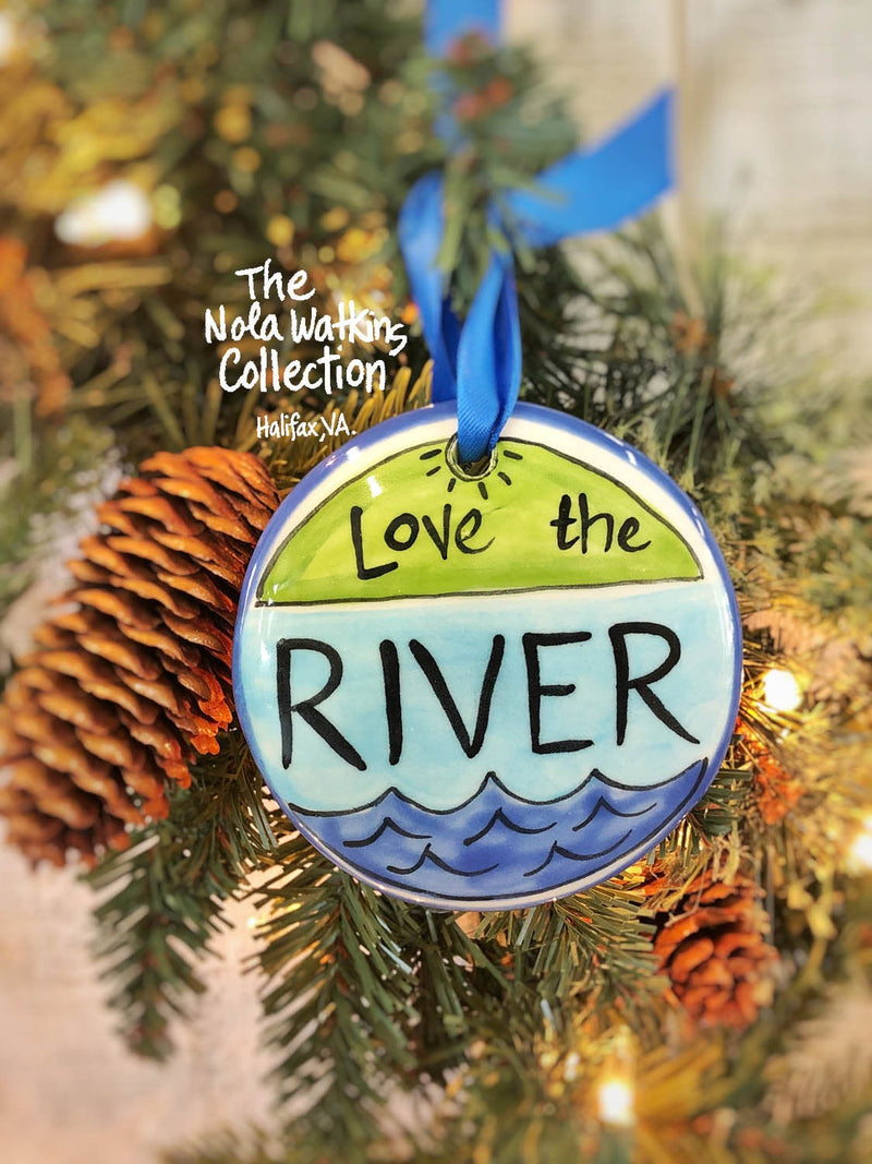 Love the River Handpainted Ornament - nolawatkins.com